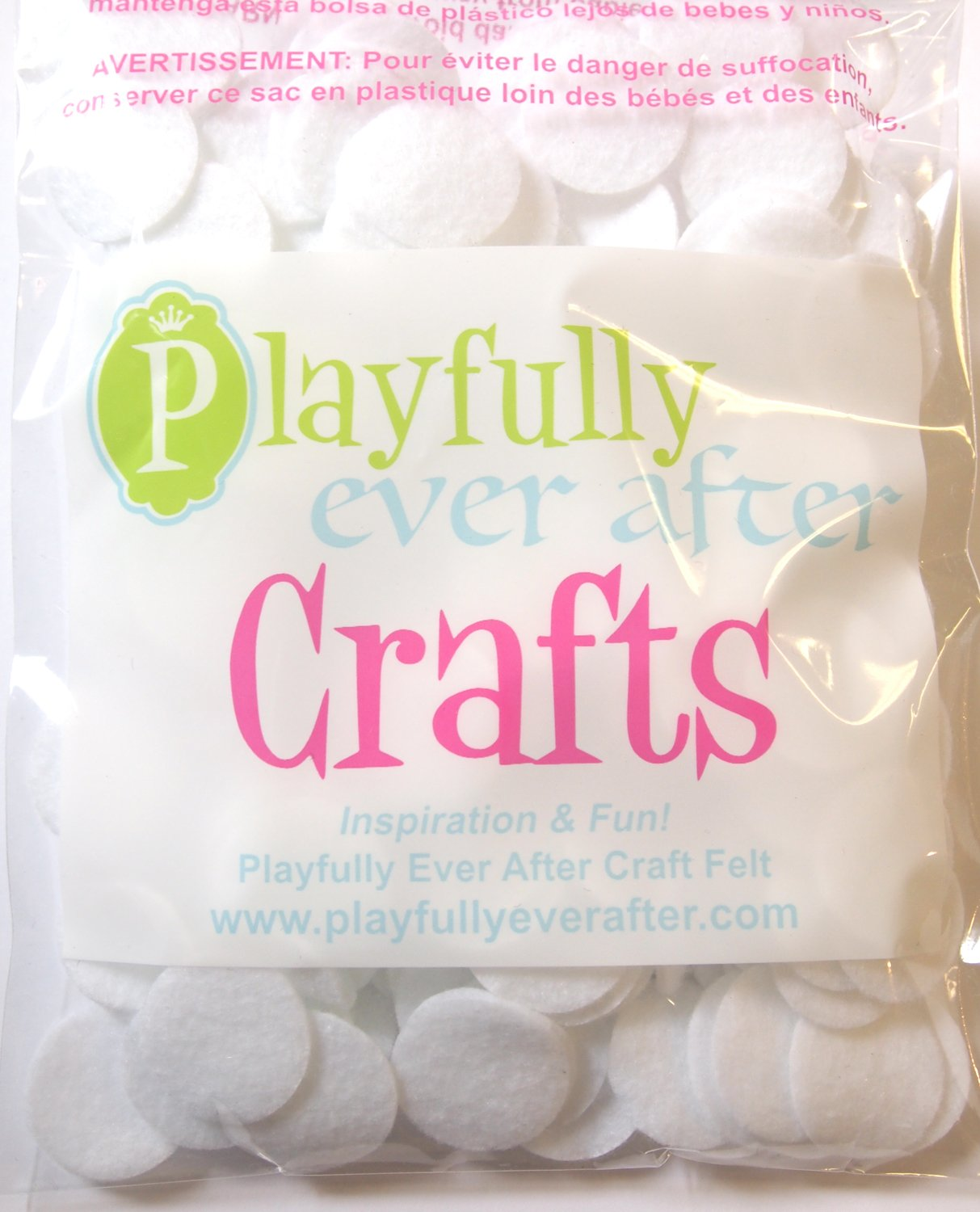 Playfully Ever After 1 Inch White 200pc Felt Circles