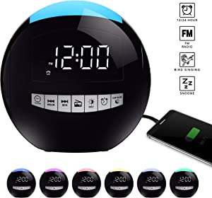 Rocam Digital Alarm Clock Radio with FM Radio, Battery Operated, 3 Loud Alarm Sounds Adjustable Volume, 7 Night Light, LED Display with 5 Dimmer, Dual USB Ports, Snooze, Sleep Timer for Bedrooms, Kids