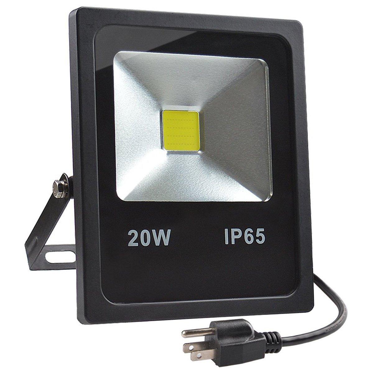GLW 20W LED Flood Lights,100W Halogen Bulb Equivalent,IP65 Waterproof Warm White Outdoor Work Light,1800lm,3000K,110V Floodlight with US 3-plug