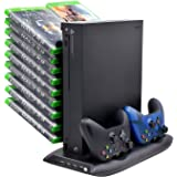 FastSnail Xbox One X Vertical Stand Cooling Fan with Game Discs Storage Tower Mounts & Dualshock Charger, Controller Charging Station for Xbox One X