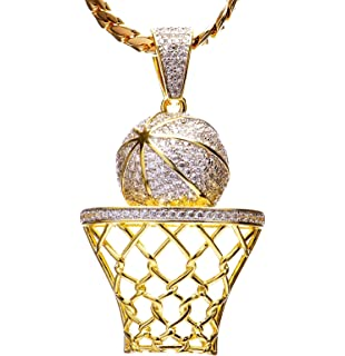 Amazon 14k gold basketball charm sports jewelry pendant clasp luxury hip hop iced out 14kt gold plated mini basketball rim pendant miami cuban chain set mozeypictures Images