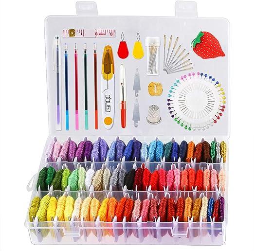 Caydo 158 hilos de bordado con caja organizadora, 72 hilos de bordado de colores y kits de herramientas de punto de cruz para hacer pulseras de la amistad.: Amazon.es: Hogar