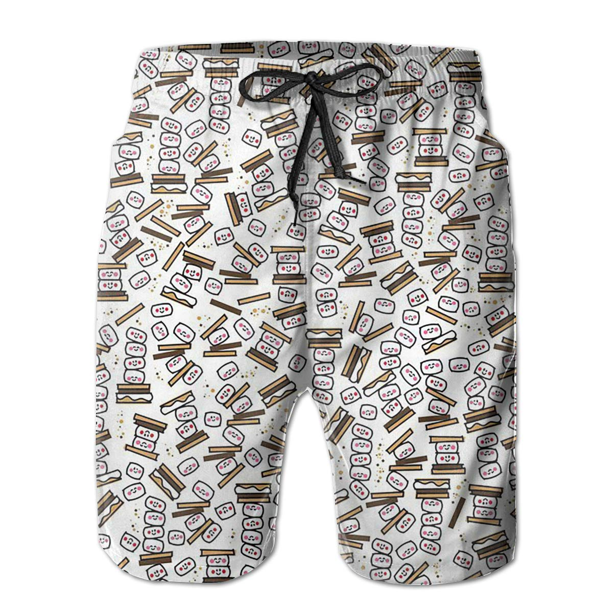 FUNSTYEET Tiny Smores Repeat Mens Board Shorts Swim Mesh Lining and Side Pocket