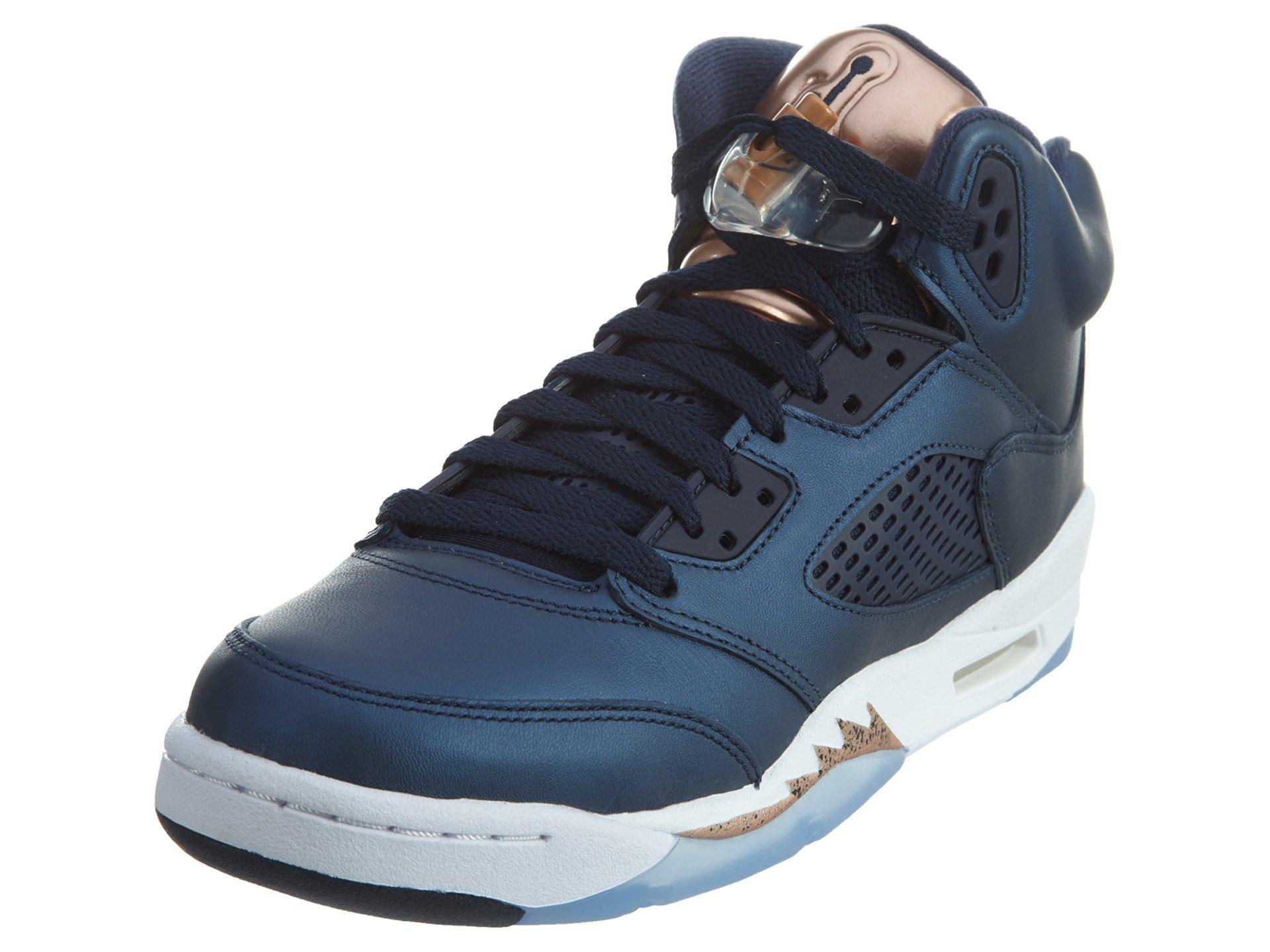 Jordan Nike Kids Air 5 Retro BG Obsdn/Mtlc RD Brnz/Wht Basketball Shoe 5 Kids US