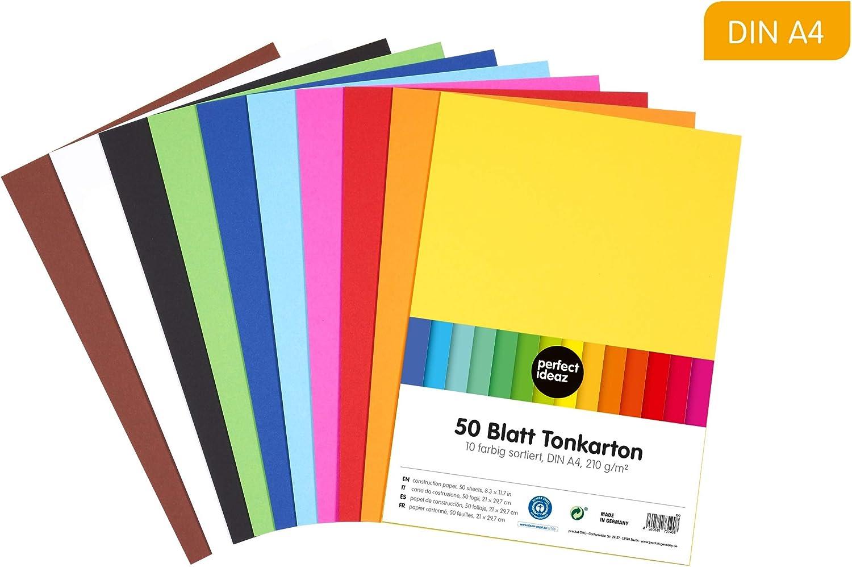 en 10 colores diferentes hojas de la m/áxima calidad perfect ideaz papel de construcci/ón A4 de colores grosor de 210g//m/² 50 hojas