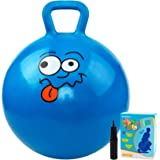 BESPORTBLE Fitness Hopper Ball Cartoon Hop Jump Exercise Ball Toy with Handle Inflatable Sit Bouncing Ball Early Educational Toy for Children Kids Toddlers Green