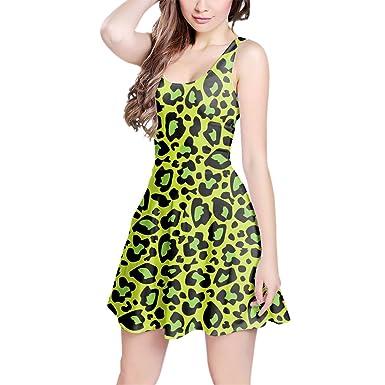 Estampado de leopardo brillante verde sin mangas vestido skater XS-3 X L  Elástico Flare Vestido  Amazon.es  Ropa y accesorios 26b5bf8349e7