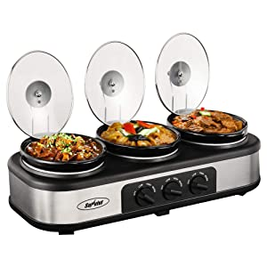 Triple Slow Cooker Buffet Server, 3 Pot Crock Pot Food Warmer, 4.5 QT Food Warmer Adjustable Temp Lid Rests Stainless Steel (Renewed)