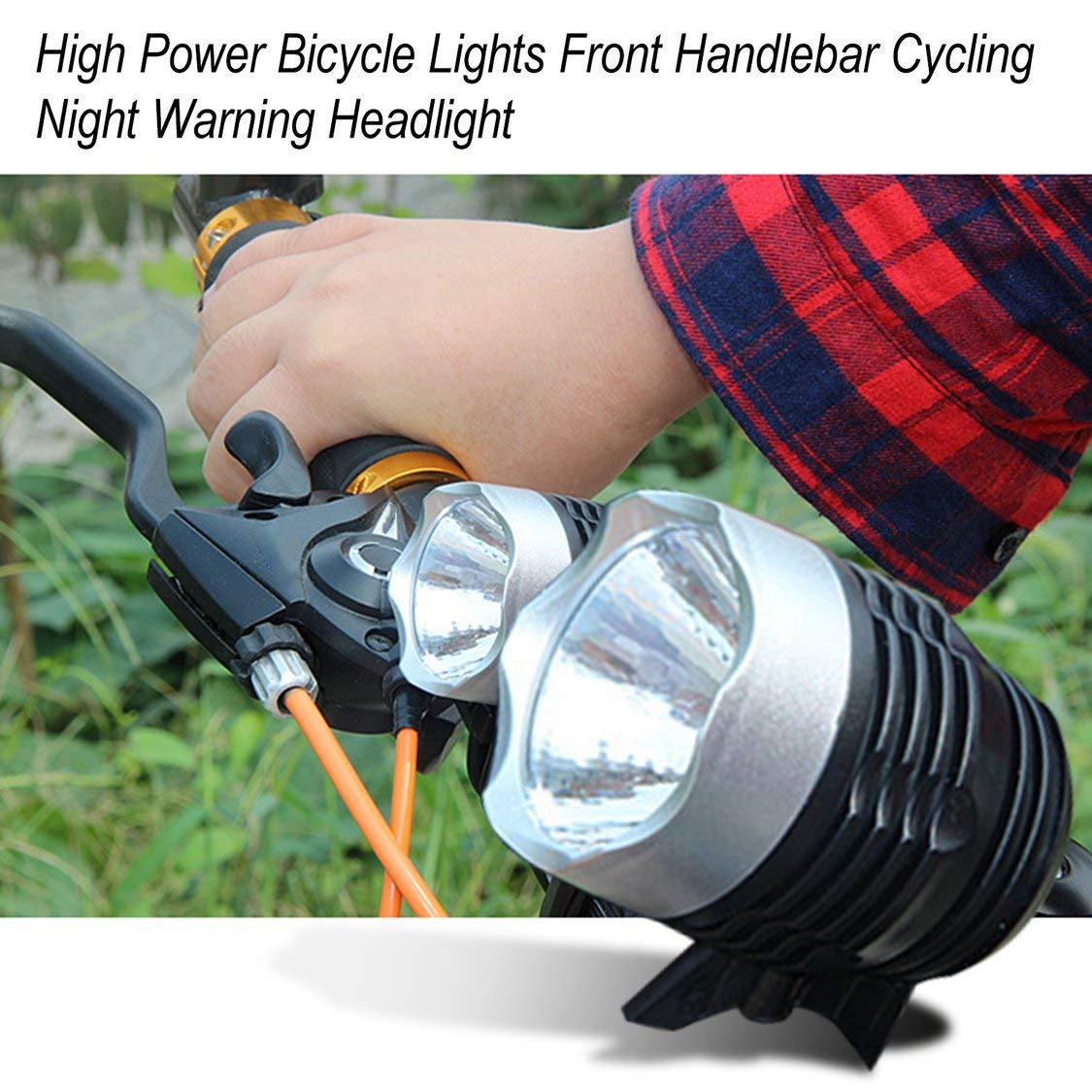 Fancysweety High Power Bicycle Bike Lights Front Handlebar Cycling Night Warning Safety Headlight Flashlight Bike Accessories