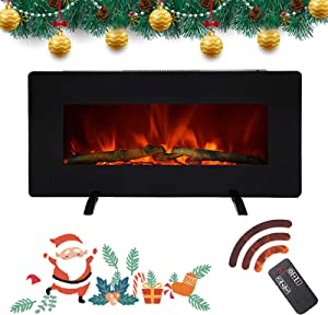 SUNCOO 36 Inches Electric Fireplace, 2-Way Installations Wall Mounted Fireplaces with Log Set, 3 Flame Settings, Realistic Flames, Freestanding Electric Fireplaces with Remote Control, 1400W, Black