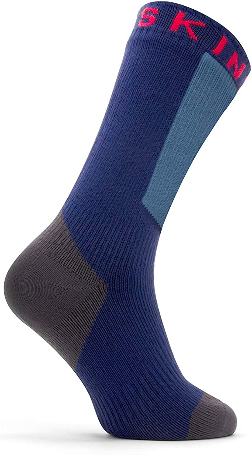 Large Navy Blue SealSkinz Unisex-Adult Waterproof Warm Weather Mid Length Sock with Hydrostop