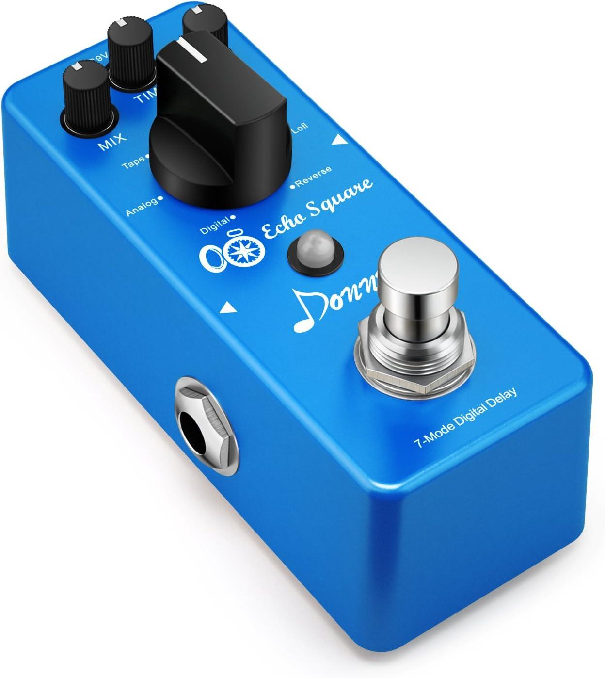 Donner Echo Square Digital Delay Pedal Guitarra, 7 Modos Pedal de Efectos True bypass para Guitarra