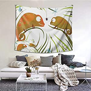 "Chameleons Wall Hanging Tapestry, Hungry Animals Grass Looking at Spider Insect World Illustration Worm Ladybug Wall Decor Art Dorm Décor Beach Throw, 90""x60"" Multicolor"