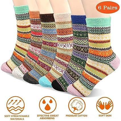 75ff8ed0c Amazon.com: Estela 6 Pairs, Joypal Vintage Style Women Winter Warm Wool  Socks, US Size 5-9, Mixed Color: Home & Kitchen