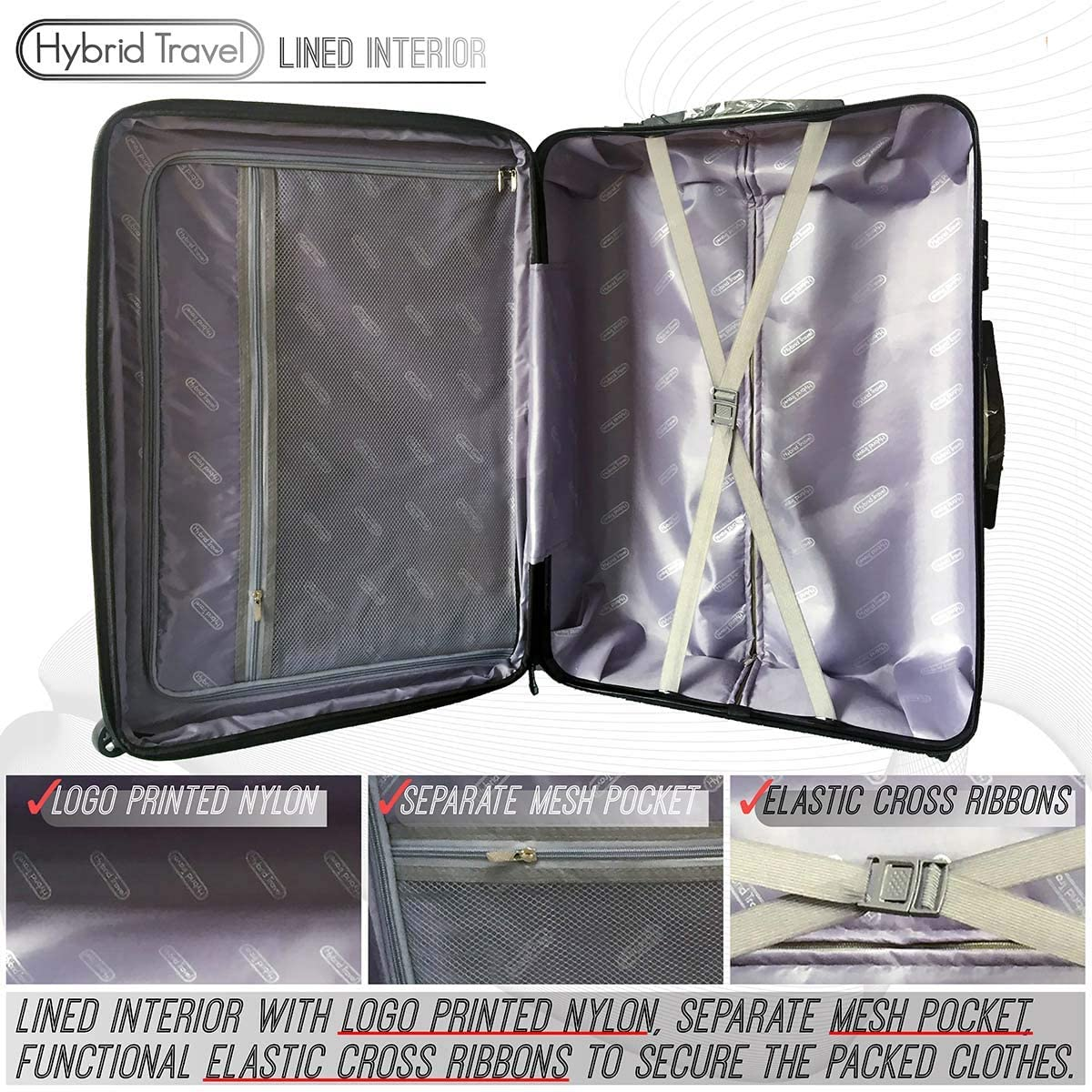 3 Pieces Black HyBrid /& Company Luggage Set Durable Lightweight Spinner Suitcase LUG3-628