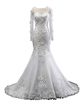 Yinyinhs Women\'s Jewel Mermaid Wedding Dresses Lace Appliques Chapel ...