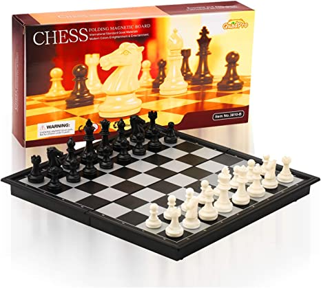 QuadPro Magnetic Travel Chess Set for Adults and Kids with 12.52 x 12.50 Inches Folding Chess Board Educational Games