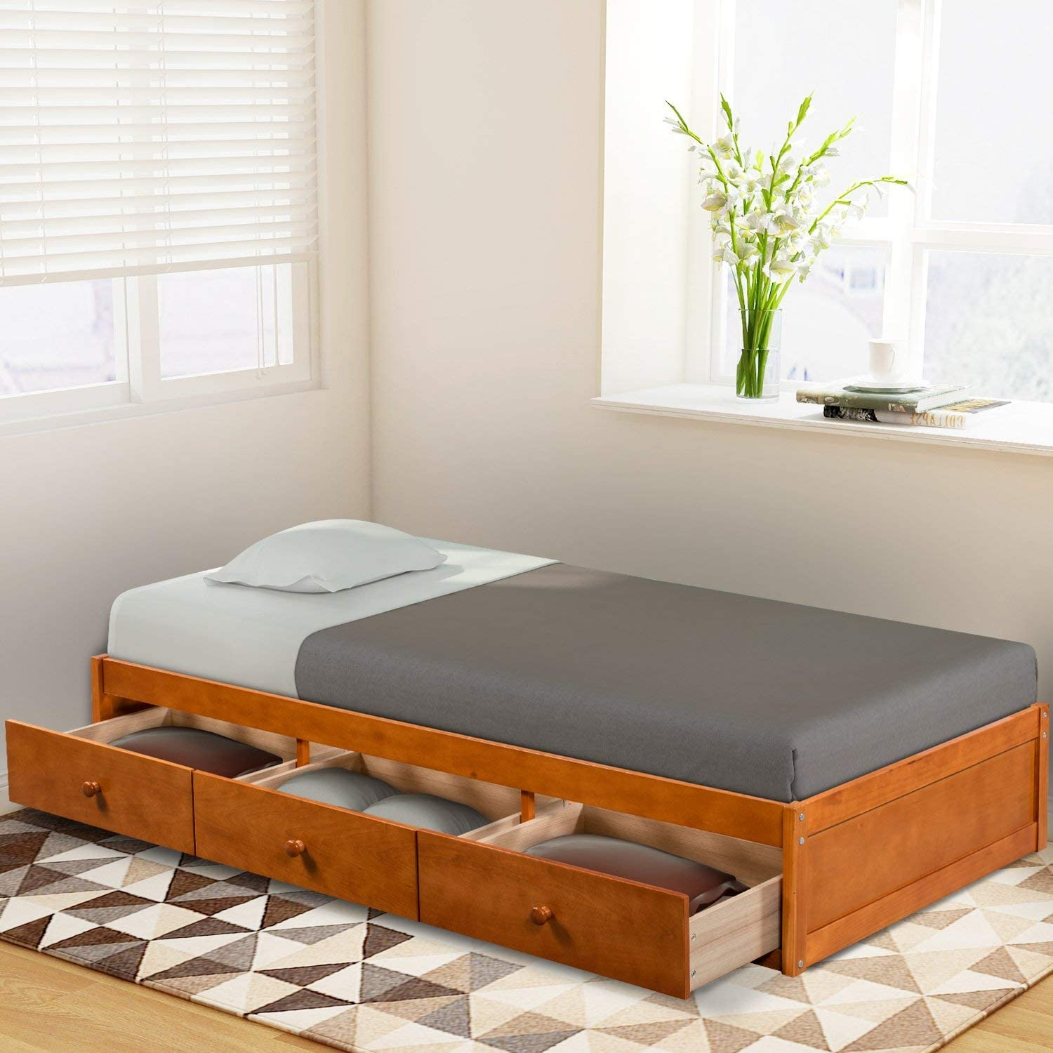 Twin Bed with Storage Platform Bed with 3 Drawers Captain Bed Frame (Oak)