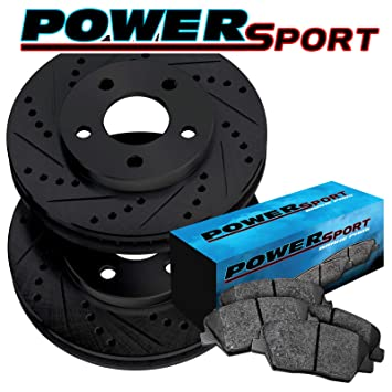 Fit 2012 Ford F-150 Front Rear PSport Black Drill Slot Brake Rotors+Ceramic Pads