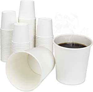 [1000 Pack] 4 oz Disposable White Paper Cups - On the Go Hot and Cold Beverage All-Purpose Sampling Portion Cup for Coffee, Espresso, Cortado, Water, Tea and Juice, Food Grade Safe