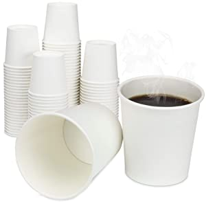 [200 Pack] 4 Oz Disposable White Paper Cups - On the Go Hot and Cold Beverage All-Purpose Sampling Portion Cup for Coffee, Espresso, Cortado, Water, Tea and Juice, Food Grade Safe