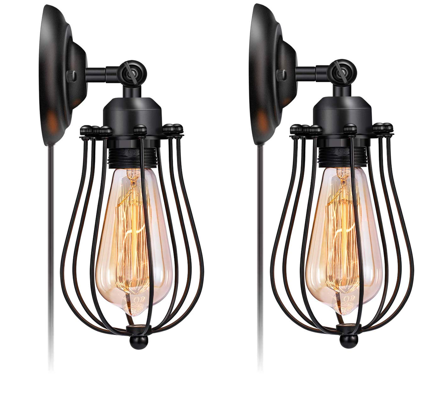 Licperron Wire Cage Wall Sconce Plug in Industrial Wall Light E26 Base Vintage Style Plug in Sconce Fixture for Headboard Bedroom Garage Porch 2 Pack(Need Hardwired))