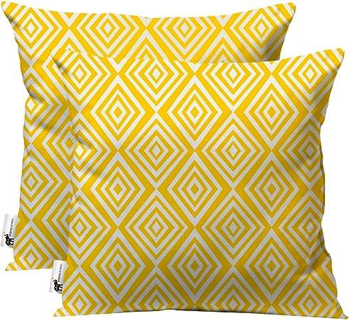 UBU Republic Handmade Outdoor Pillows 20 – Set of 2 Decorative Yellow Vintage Italian Indoor Outdoor Furniture Pillows for Your Patio