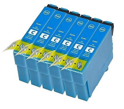 6 compatible E1812 Cian alta capacidad cian azul cartuchos ...
