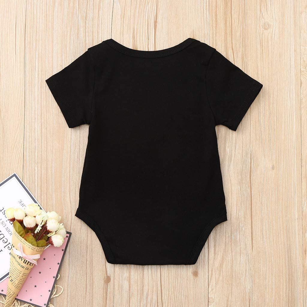 TAINRUN Toddler Newborn Baby Girls Boys Letter Printed Tops Bodysuit Romper Clothes 6-24Months
