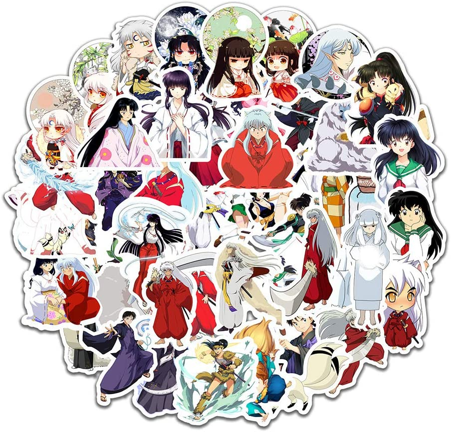 Inuyasha Laptop Stickers 50pcs Pack, Fashion Water Bottle Luggage Skateboard Sticker for Kids/Teen, Cool Anime Vinyl Decal for Girl Travel Case Phone Notebook Helmet Bicycle