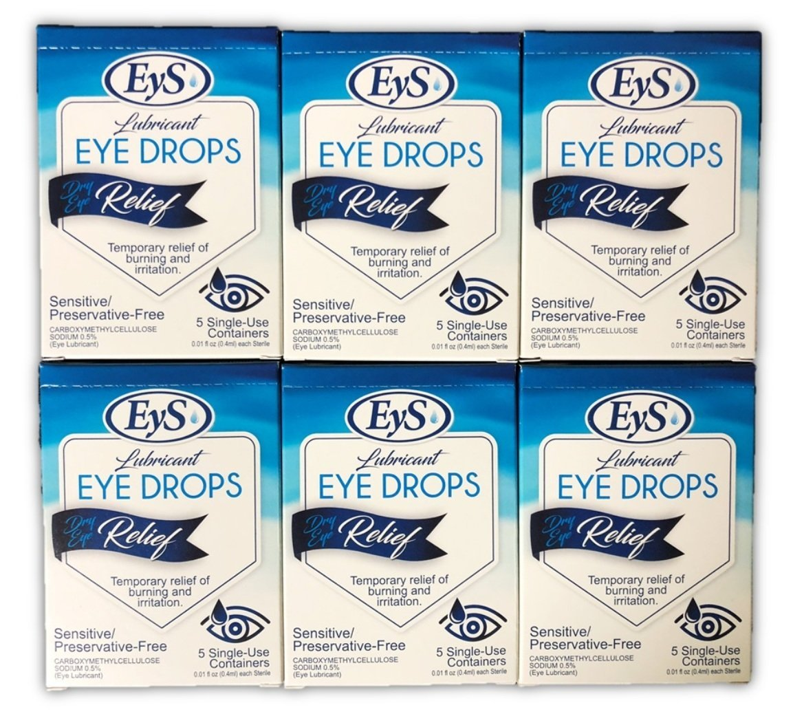 EyS Lubricant Eye Drops Dry Eye Relief - 5 Single-Use Containers/Box (6)