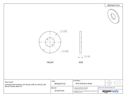 0.0655 Nominal Thickness 18-8 Stainless Steel Flat Washer 7//16-1//2 Hole Size 0.344 ID Made in US 7//16-1//2 Hole Size 0.344 ID 0.688 OD 0.0655 Nominal Thickness Accurate Manufacturing WAS40451 Pack of 25 0.688 OD