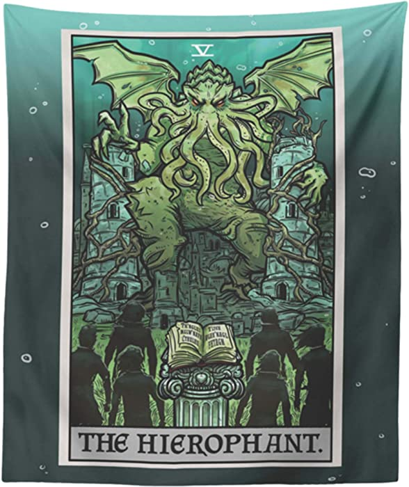 "Cthulhu The Hierophant Tarot Card Wall Hanging H.P. Lovecraft Horror Home Decor Halloween Wall Art (60"" x 50"")"