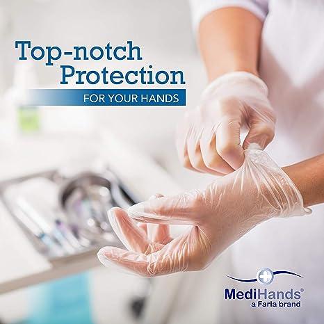 MediHands - Guantes de vinilo transparente para examen de pacientes (desechables, sin látex, tamaño grande, 100 unidades)
