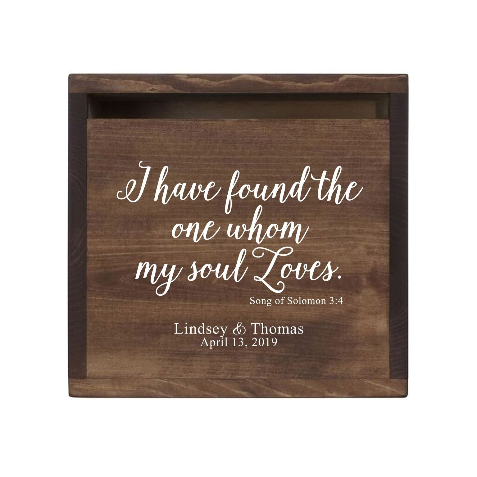 """LifeSong Milestones Personalized I Have Found Rustic Wooden Wedding Card Box Custom Card Holder with Front Slot for NewlyWeds Couples Reception 13.5"""" L x 12"""" W x 12.5"""" T (Walnut)"""