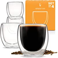 Espresso Cups Shot Glass Coffee Set of 4 - Double Wall Thermo Insulated