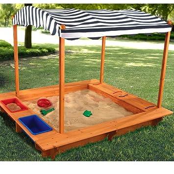 KidKraft 165 Arenero de madera para niños con toldo, para jardín y exterior  al aire libre - Azul marino y blanco