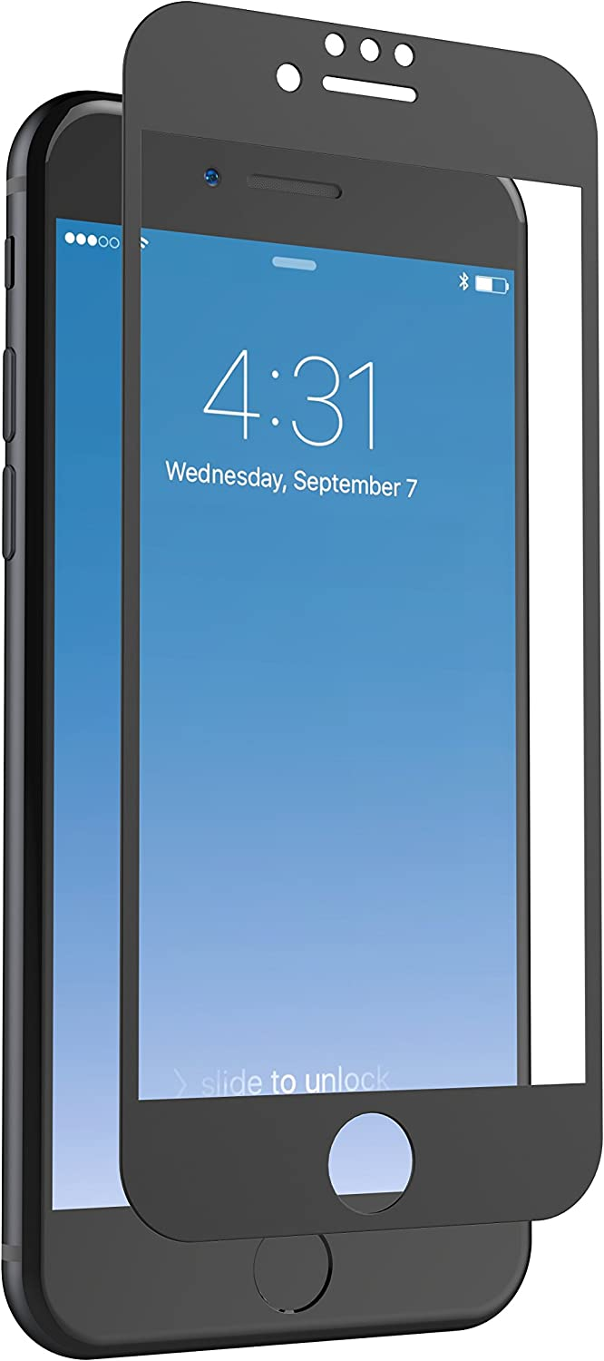 ZAGG InvisibleShield Glass + Luxe Screen Protector for iPhone 8, iPhone 7, iPhone 6s, iPhone 6 – Extreme Impact and Scratch Protection – Matte Black Finish