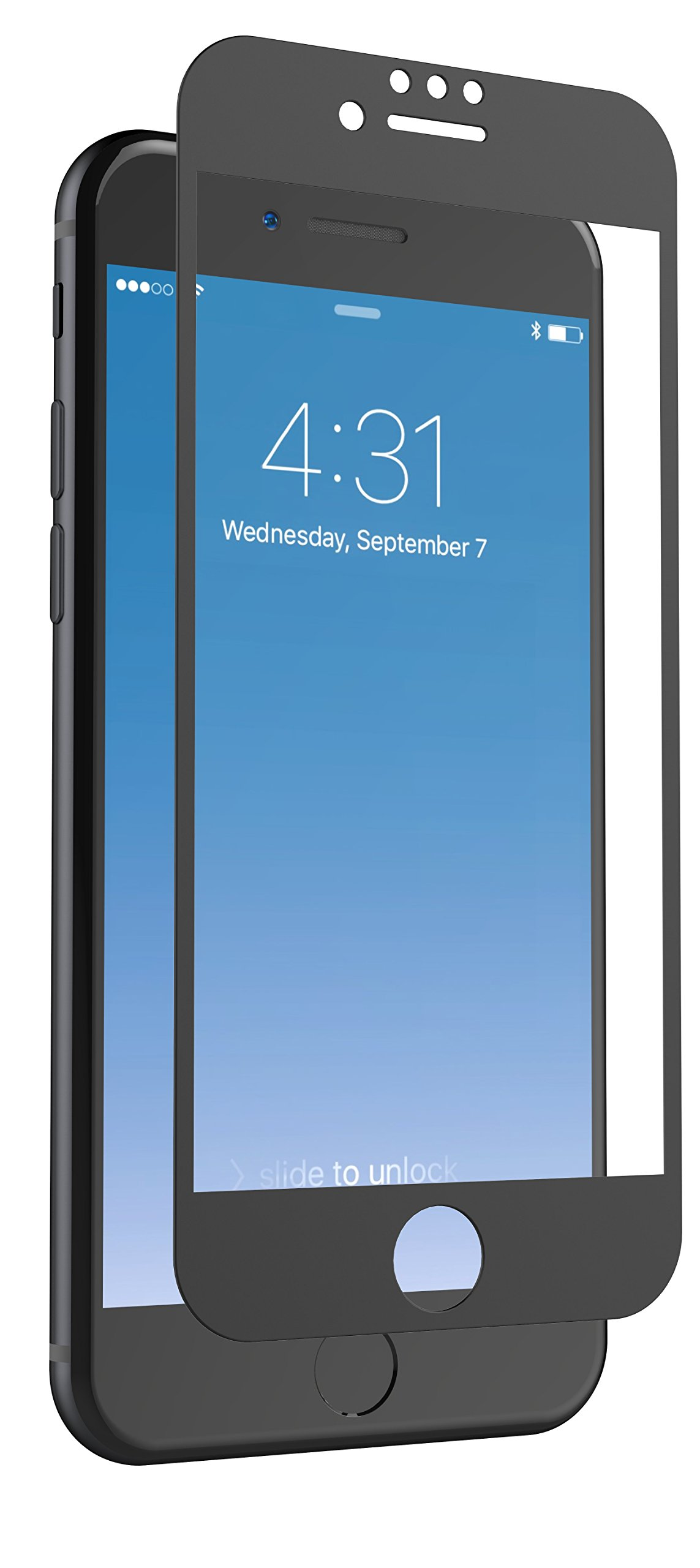 ZAGG InvisibleShield Glass + Luxe Screen Protector for iPhone 8, iPhone 7, iPhone 6s, iPhone 6 - Extreme Impact and Scratch Protection - Matte Black Finish