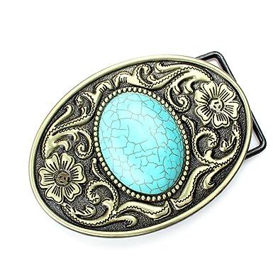 1ce7f02c2cd Sharplace Boucle de Ceinture Mode Homme Ceinture Western Country Cowboy  Ovale - Bleu