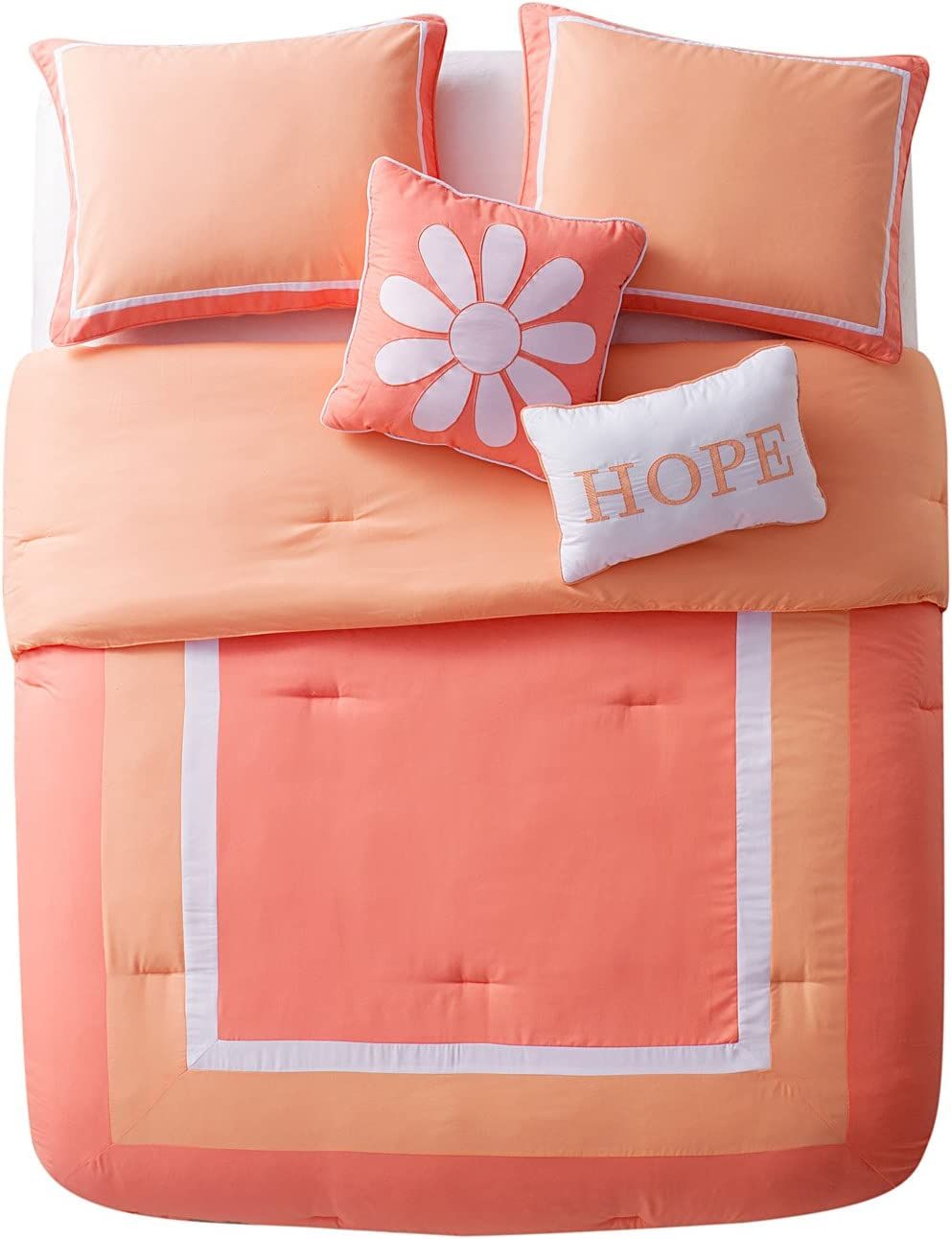Twin Pink VCNY Home HJV-4CS-TWIN-IN-PK 4 Piece Bedding Comforter Set