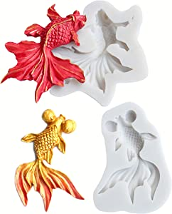 HengKe Goldfish Fondant Molds,Set of 2 3D Realistic Shaped Japanese Koi Fish Carp Silicone Molds,for Chocolate Candy Sugar Paste Fondant Craft Cake Cupcake Decoration Gum Paste Polymer Clay Soap