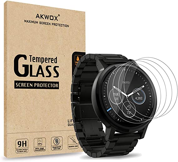 AKWOX (Pack of 4) Tempered Glass Screen Protector for Moto 360 1st and 2nd Gen 46mm Smart Watch, [0.3mm 2.5D 9H] Premium Clear Screen Protective Film ...