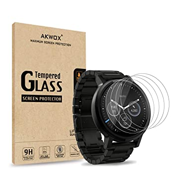 AKWOX [4 Unidades] Protector de Pantalla para Moto 360 1st and 2nd Gen 46mm Smart Watch [9H Dureza] Cristal Vidrio Templado para Motorola Moto 360 ...