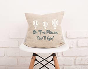 Flowershave357 Oh The Places Youll Go Pillow Cover Quote Pillowcase Dr Seuss Quotes Nursery Decor Pillowcase Natural Burlap Nursery Pillow Case 124