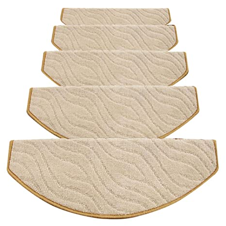 LIXIONG Stair Carpet Treads Pads Self Adhesive Anti Slip Step Mat Floor  European Style, 13mm