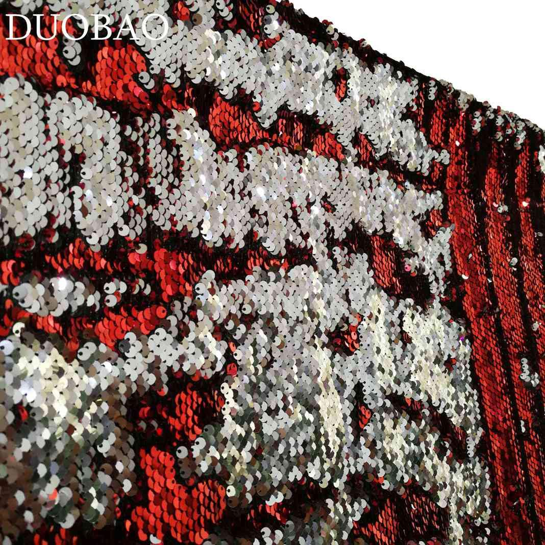 DUOBAO Sequin Backdrop 8Ft Red to Silver Glitter Backdrop Curtain Reversible 4FTx8FT Mermaid Sequin Curtains Sparkly Backdrop Panels