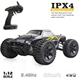 VCANNY Large Size 1: 12 Scale Electric Remote Control Truck with High Speed 40km/H 4WD 2.4Ghz, Radio Controlled Off Road RC Car Electronic Monster Truck R/C RTR Hobby Grade Cross- Country Car Buggy (Color: Black Remote Control Car)