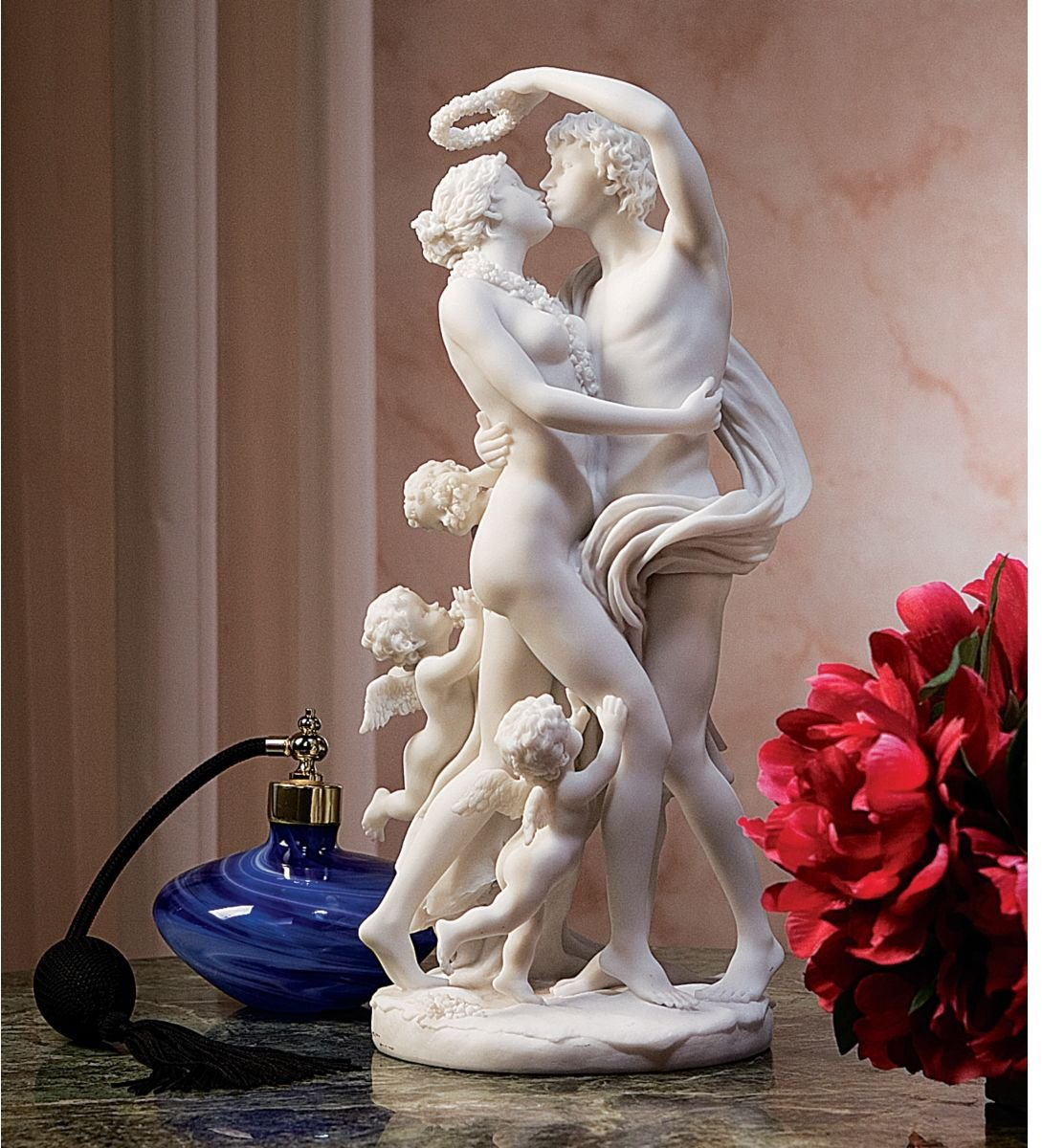 Zephyrus and Flora Natural Bonded Marble Nude Sculpture Statue