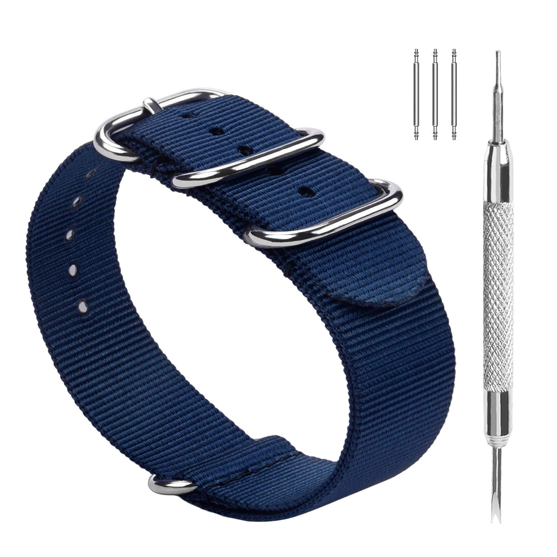 Fullmosa Nylon Zulu Correa para Relojes 18 mm 20 mm 22 mm 24 mm, Banda/Pulsera de Reloj de Nailon de Raya con Cierre Ajustable de Metal para Hombres ...